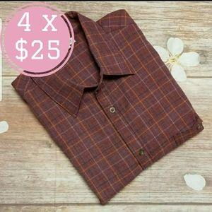 Haggar clothing plaid button down shirt